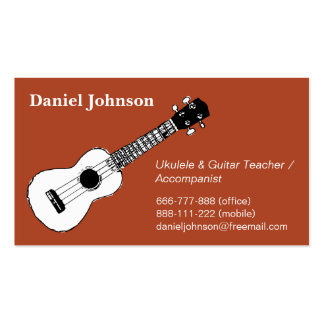 Sketch, casual, relax ukulele and guitar teacher Double-Sided standard business cards (Pack of 100)