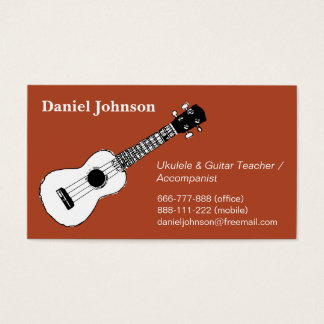Sketch, casual, relax ukulele and guitar teacher business card