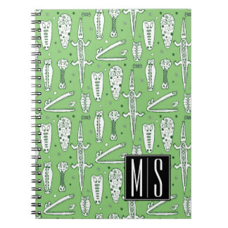 Sketch Crocodile Pattern | Monogram Spiral Notebooks