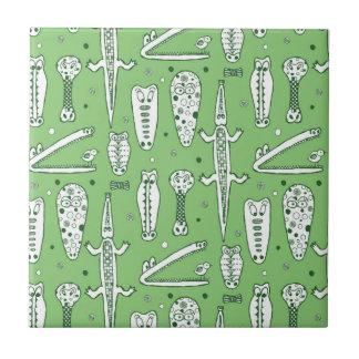 Sketch Crocodile Pattern Small Square Tile