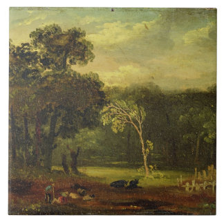 Sketch from Nature in Sion Park, 1819 (oil on card Large Square Tile