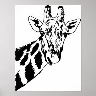 Sketch Giraffe Head Poster