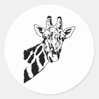 Sketch Giraffe Head Round Sticker