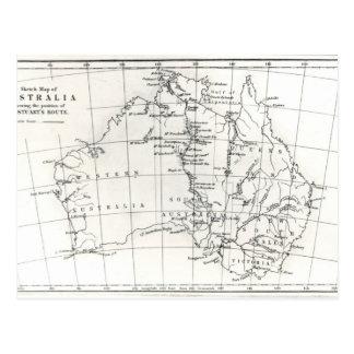 Sketch map of Australia Postcard