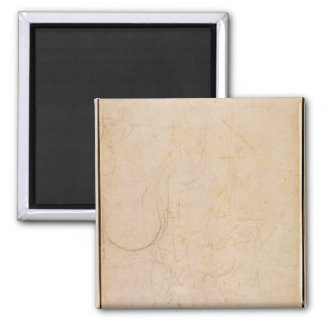 Sketch of a figure with artist's signature square magnet