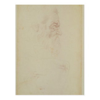 Sketch of a male head and two legs postcard