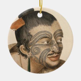 Sketch of a Maori Man, c. 1769 Ceramic Ornament