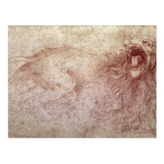 Sketch of a roaring lion postcard