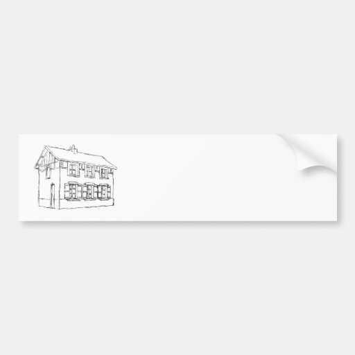 Sketch of an Old House, with Shutters. Bumper Sticker