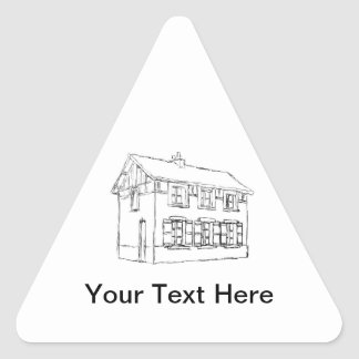 Sketch of an Old House, with Shutters. Triangle Sticker
