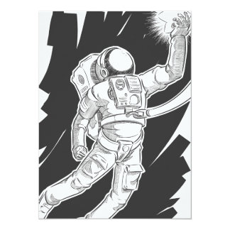 Sketch of Astronaut or Spaceman Grabbing a Star Personalized Invites