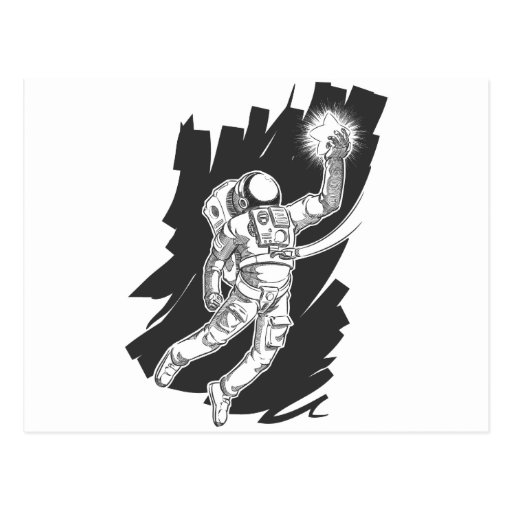 Sketch of Astronaut or Spaceman Grabbing a Star Post Cards