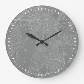 Sketch of Boston City Map Large Clock