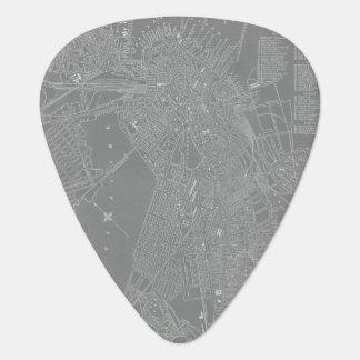 Sketch of Boston City Map Plectrum