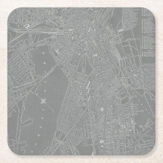 Sketch of Boston City Map Square Paper Coaster