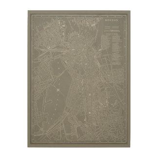 Sketch of Boston City Map Wood Wall Art
