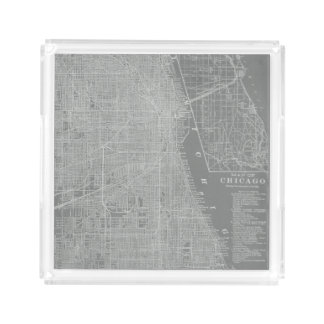 Sketch of Chicago City Map Acrylic Tray