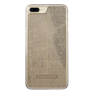 Sketch of Chicago City Map Carved iPhone 8 Plus/7 Plus Case
