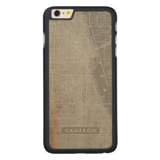 Sketch of Chicago City Map Carved Maple iPhone 6 Plus Case