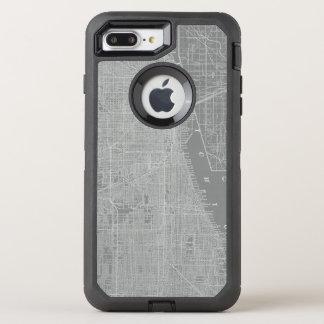 Sketch of Chicago City Map OtterBox Defender iPhone 8 Plus/7 Plus Case