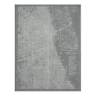 Sketch of Chicago City Map Postcard