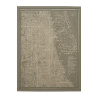 Sketch of Chicago City Map Wood Print