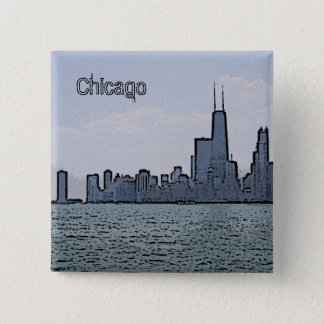 Sketch of Gorgeous Chicago Skyline 15 Cm Square Badge