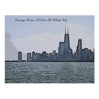 Sketch of Gorgeous Chicago Skyline Postcard