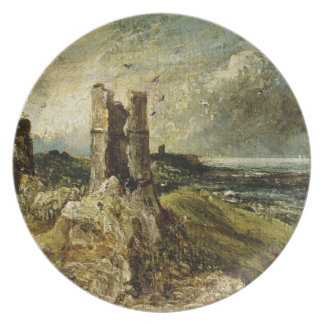 Sketch of Hadleigh Castle (recto) (oil on millboar Plate