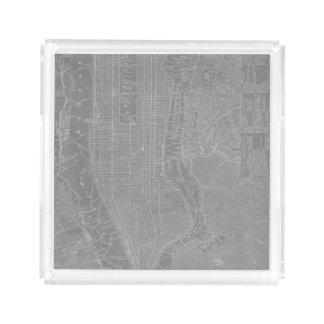 Sketch of New York City Map Acrylic Tray
