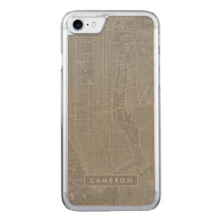 Sketch of New York City Map Carved iPhone 8/7 Case