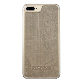 Sketch of New York City Map Carved iPhone 8 Plus/7 Plus Case