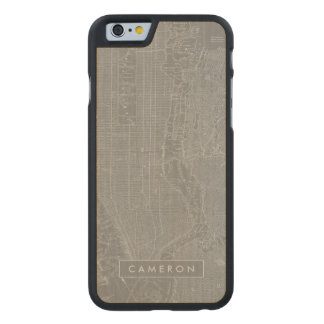 Sketch of New York City Map Carved Maple iPhone 6 Case