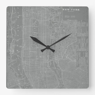 Sketch of New York City Map Square Wall Clock