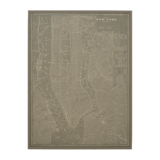 Sketch of New York City Map Wood Wall Decor