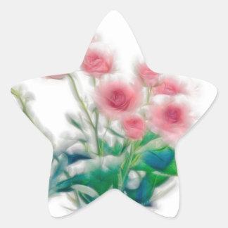 Sketch of Rose Bouquet Star Sticker