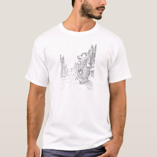 Sketch of Singapore Tourism Landmark - Merlion T-Shirt
