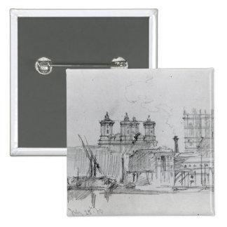 Sketch of Westminster, 1860 15 Cm Square Badge