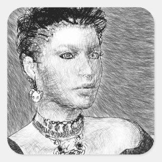 Sketch Portrait Square Stickers