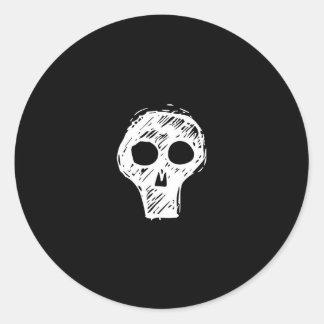 Sketch Skull Round Sticker