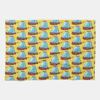 sketch style sweet cartoon car illustration tea towel