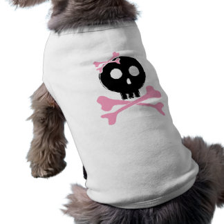 Sketched Candy Skull in Black Sleeveless Dog Shirt