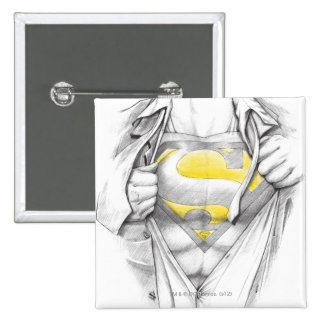 Sketched Chest Superman Logo 15 Cm Square Badge