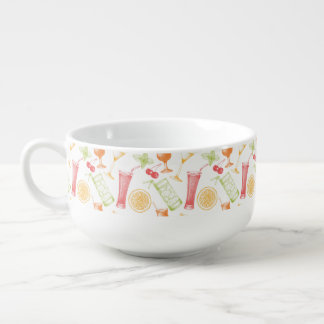 Sketched Cocktail Pattern Soup Bowl With Handle