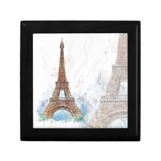 Sketched colored eiffel tower paris good idea gift box