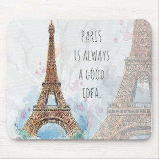 Sketched colored eiffel tower paris good idea mouse pad
