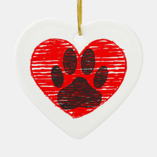 Sketched Dog Paw In Red Heart Ceramic Heart Decoration