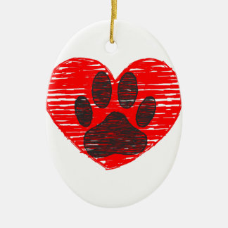 Sketched Dog Paw In Red Heart Ceramic Oval Decoration
