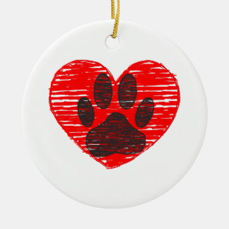 Sketched Dog Paw In Red Heart Round Ceramic Decoration