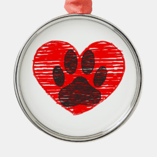 Sketched Dog Paw In Red Heart Silver-Colored Round Decoration